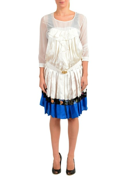 Item - Multi-color Women's Silk Pleated Long Sleeve Belted Mid-length Short Casual Dress Size 4 (S)