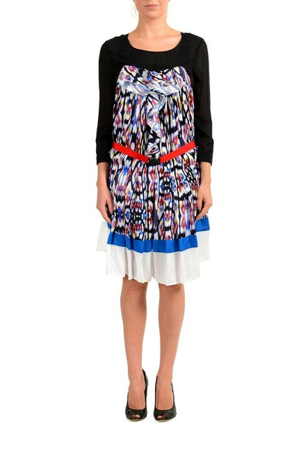Item - Multi-color Women's Pleated Long Sleeve Belted Mid-length Short Casual Dress Size 4 (S)