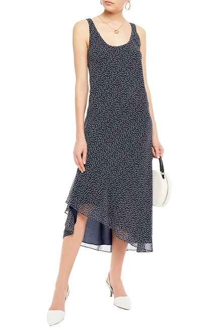 Item - Navy Talia Asymmetrical Floral Mid-length Cocktail Dress Size 4 (S)
