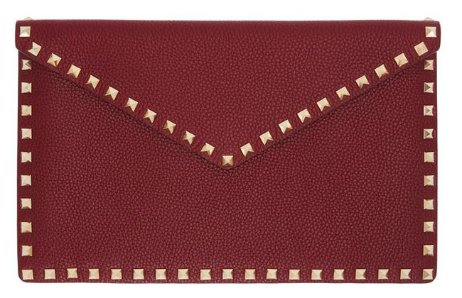 Valentino New Rockstud Large Envelope Pouch Burgundy Red Leather Clutch Valentino New Rockstud Large Envelope Pouch Burgundy Red Leather Clutch Image 1