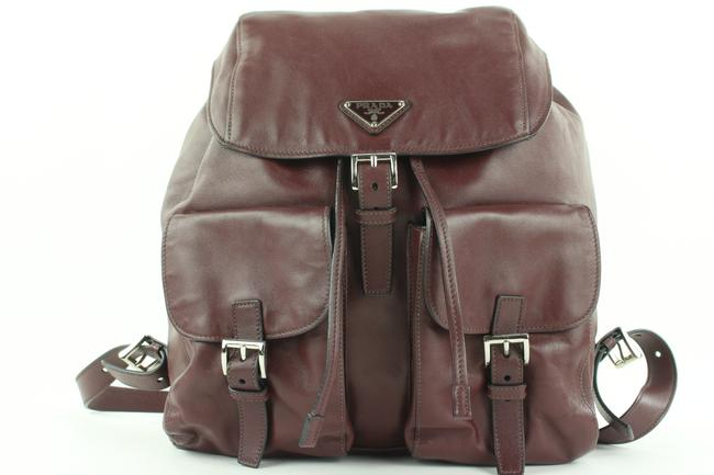 Item - Twin Pocket 862816 Burgundy Calfskin Leather Backpack