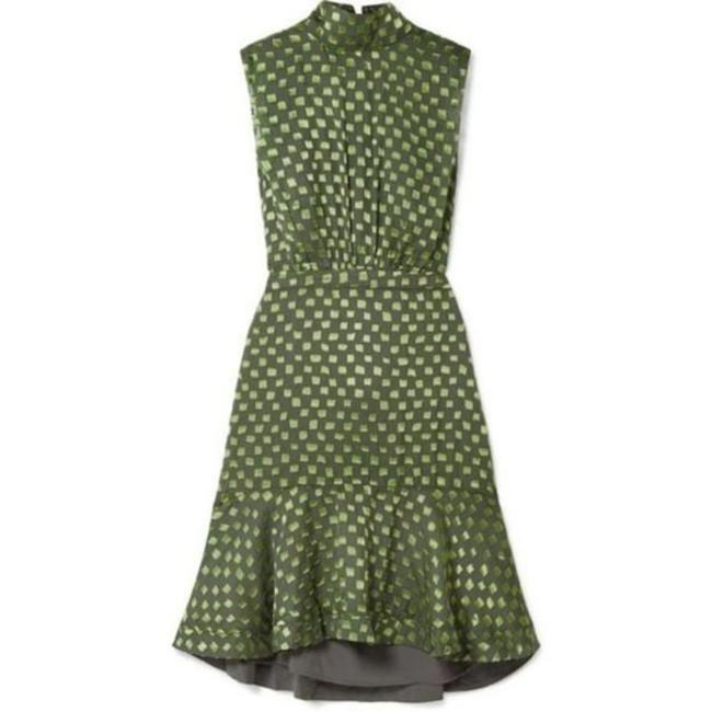 Item - Green Olive Lime Checkerboard Devore Short Cocktail Dress Size 4 (S)