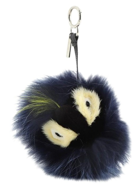 Item - Blue Monster Bug Bag Charm Fur with Leather