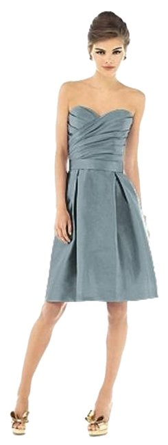 Alfred Sung Tea Length Strapless Gray Dress