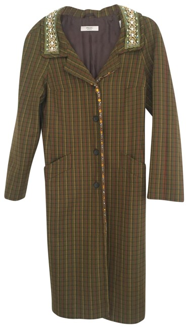 Item - Green Plaid Wool with Crystal Bead Embellishments Coat Size 8 (M)