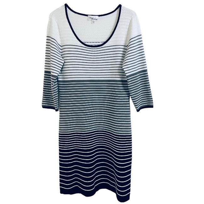 Item - Black & White Figure Flattering Striped Mid-length Work/Office Dress Size 12 (L)
