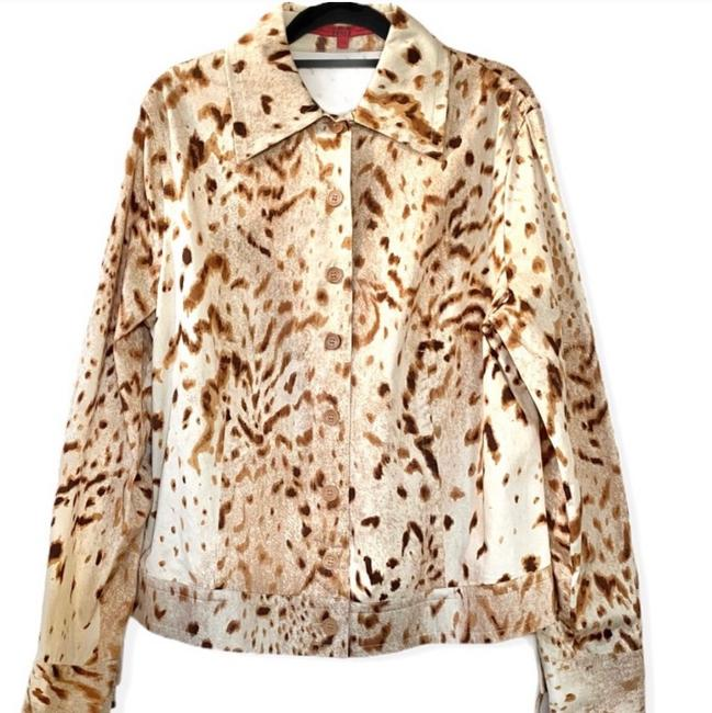 Item - Multicolored Tan Beige Cream Animal Jacket Size 16 (XL, Plus 0x)