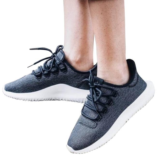 Item - Gray Tubular Shadow Leather Trimmed Stretch Knit Sneakers Size US 6 Regular (M, B)