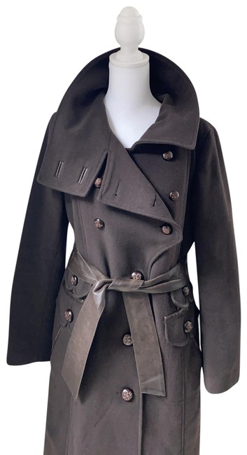 Item - Brown Wool / Cashmere/Leather Medium Coat Size 8 (M)