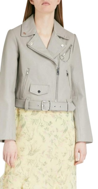 Item - Gray Bassung Belted Leather Jacket Size 4 (S)