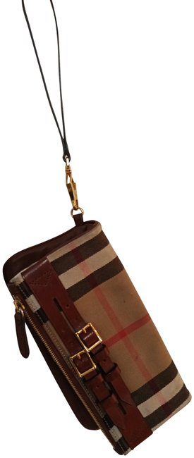 Item - Wristlet Or Brown Leather and Fabric Clutch