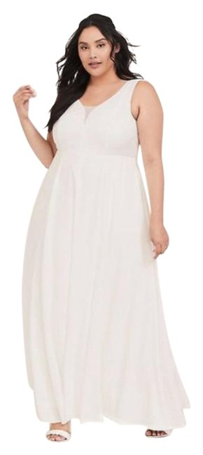 Item - White Cream Ivory Jacquard Sweetheart Gown Long Formal Dress Size 14 (L)
