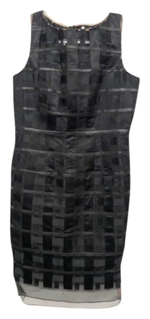 Item - Black Silk Grid Shift Mid-length Work/Office Dress Size 6 (S)