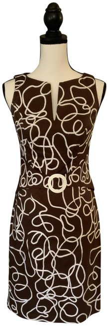 Item - Brown/White Mid-length Cocktail Dress Size 2 (XS)