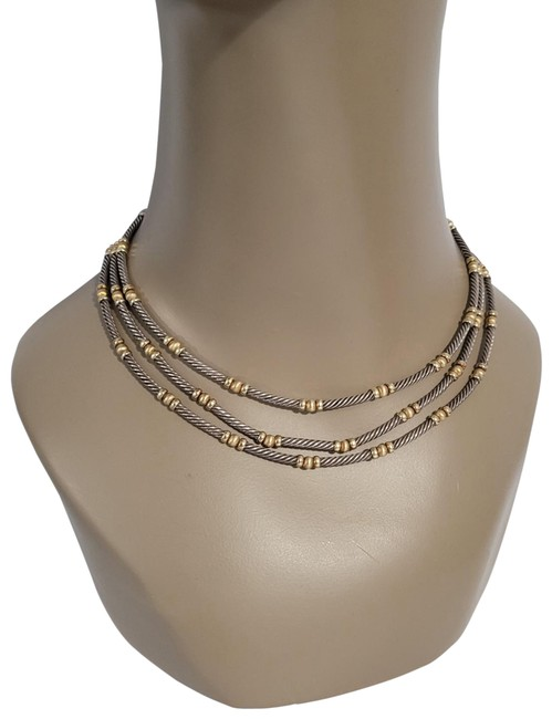 Item - Two-color Two-tone Cable 3-row Collar Necklace