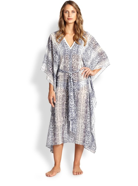 Item - Blue and White Tanzania Snake Print Caftan Cover-up/Sarong Size 10 (M)