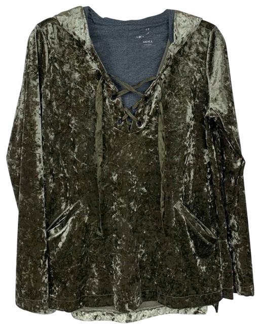 Item - Green Olive Crushed Velvet Small Sweatshirt/Hoodie Size 6 (S)