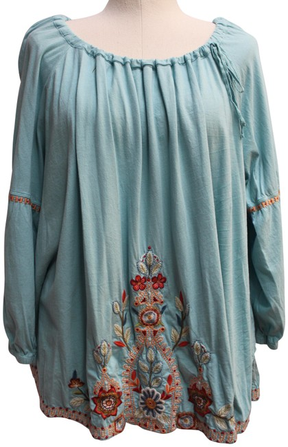 Item - Blue Maisie Embroidered Peasant Tunic Size 6 (S)