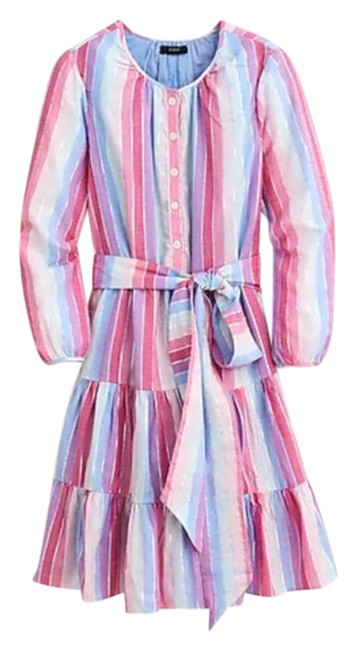 Item - Pink Purple Belted Button Up Rainbow Mid-length Short Casual Dress Size 00 (XXS)