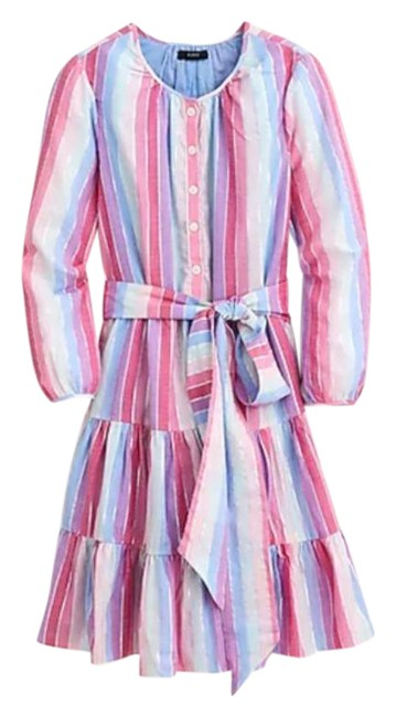 Item - Pink Purple Belted Rainbow Button Up Mid-length Short Casual Dress Size 2 (XS)