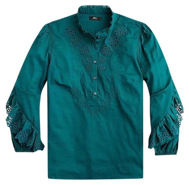 Item - Green Ruffled Sleeve Embroidered Eyelet Blouse Size 4 (S)