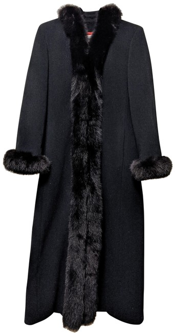 Item - Black Wool/Cashmere Long with Trim Coat Size 10 (M)