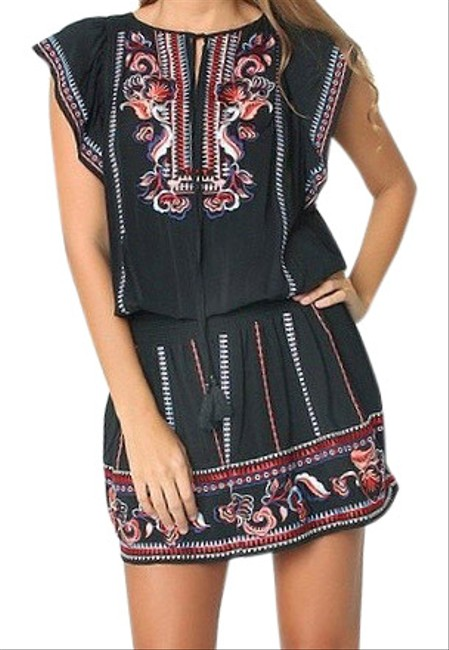 Item - Black Dean Embroidered Smocked Color Short Casual Dress Size 2 (XS)