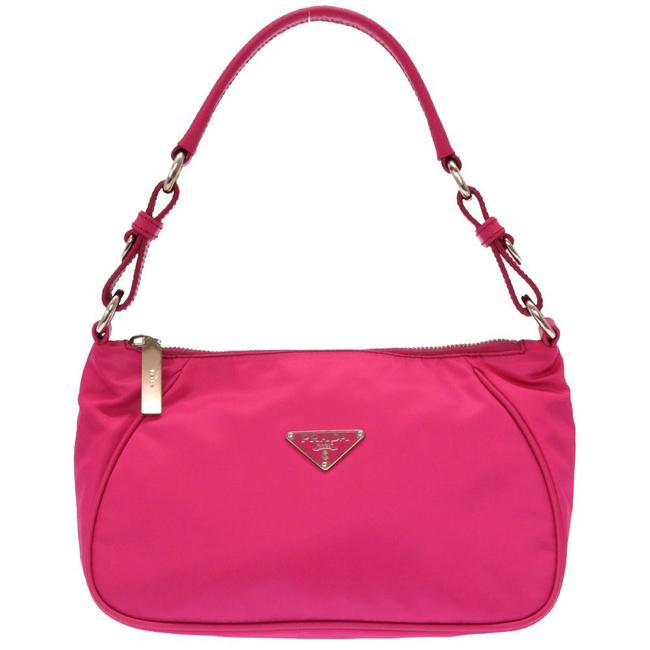 Item - Leather Silver Hardware Br2741 Accessory Pouch Pink Nylon Shoulder Bag