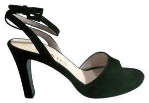 Prada Suede Stiletto Platform Sexy Ankle Straps black Sandals