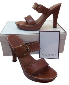 Coach Cognac Color Leather Saddle, brown Sandals