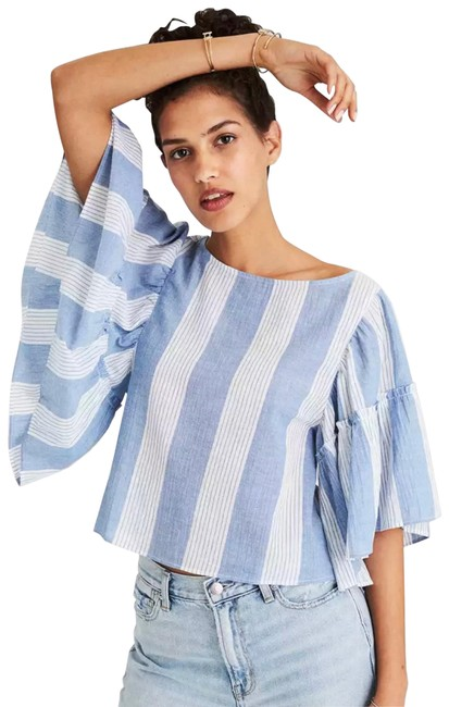 Item - Blue and White Striped Ruffle Crop Blouse Size 0 (XS)
