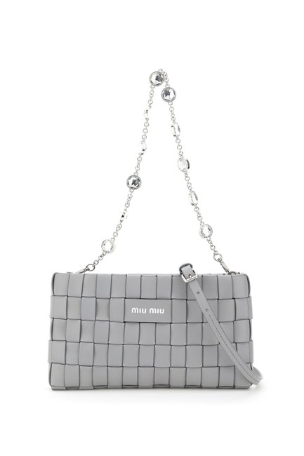 Item - Woven with Crystal Chain Grey Clutch
