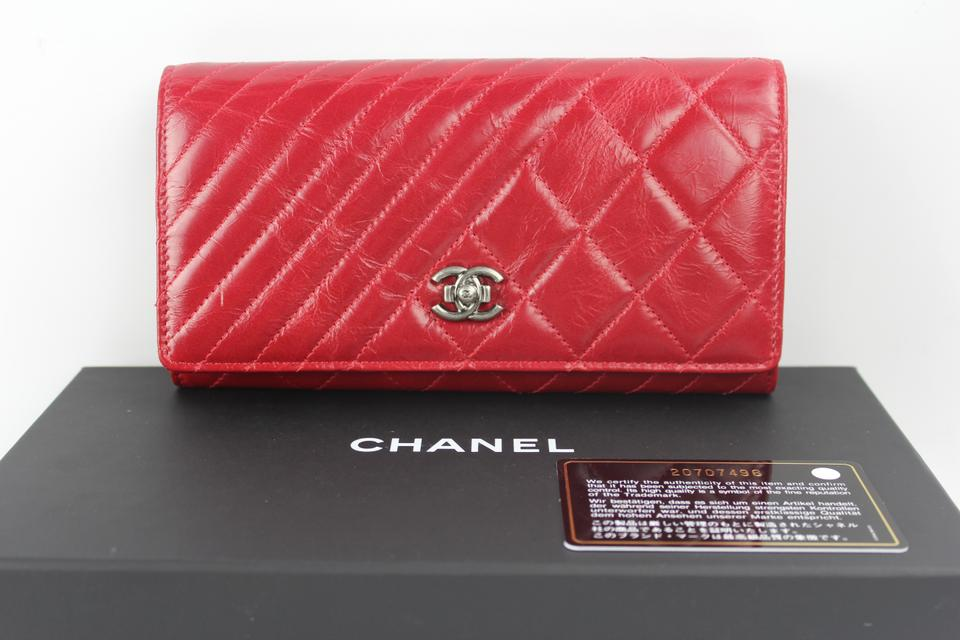 195caacfb96a Chanel Chanel Red Boy Quilted Chevron Diagonal Wallet Image 10.  1234567891011