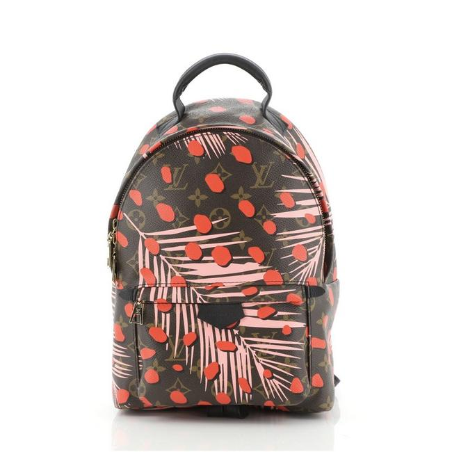 Item - Palm Springs Limited Edition Monogram Jungle Dots Pm Brown Pink Print Red Canvas (Coated) Backpack