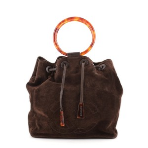 Item - Drawstring Bucket Bag Vintage Cc Resin Handle Medium Brown Suede Tote