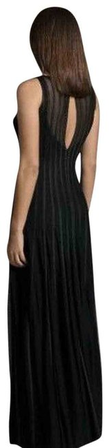 Item - Black Mesh Striped Maxi Evening Gown Long Formal Dress Size 4 (S)