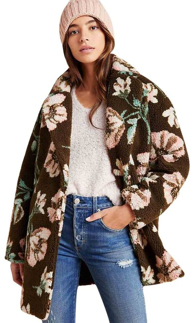Item - Brown New Olivia Floral Teddy Sherpa Coat Sp Jacket Size Petite 6 (S)