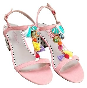 Betsey Johnson Fabric Or Suede Pink Yellow Sandals