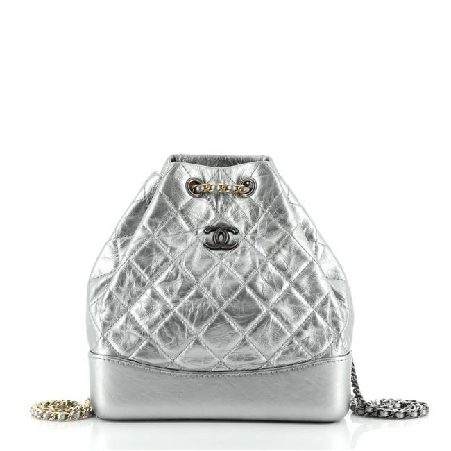 Item - Gabrielle Quilted Calfskin Small Silver Leather Backpack