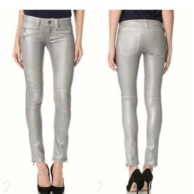 Item - Silver Coated Runway Collection Hazel Alloy Moto Skinny Jeans Size 8 (M, 29, 30)