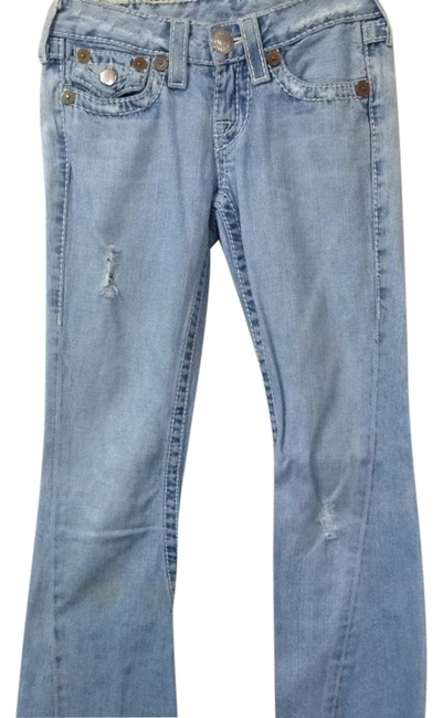 True Religion Blue Denim Straight Leg Jeans-Light Wash