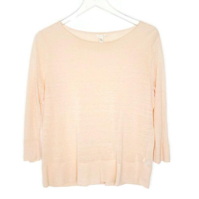 Item - Peach Knit S 3/4 Sleeve Scoop Neck Linen Nylon Blend Blouse Size 6 (S)