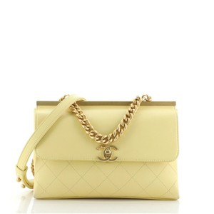 Item - Classic Flap Coco Luxe Quilted Lambskin Small Yellow Leather Shoulder Bag