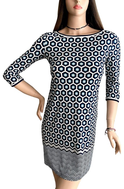 Item - Multicolor Geometric Print 3/4 Sleeve Shift Short Work/Office Dress Size 2 (XS)