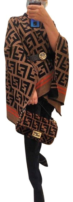 Item - Brown New Zucca Ff Logo Print Wool Silk Coat Scarf Poncho/Cape Size OS (one size)