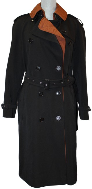 Item - Black/Brown Quilted Removable Lining Belted Jacket Coat Size 10 (M)