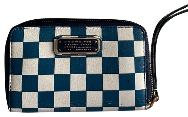 Item - Blue and White Leather Wristlet