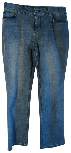 Item - Blue Medium Wash So Slimming By Short Denim Stretch Straight Leg Jeans Size 27 (4, S)