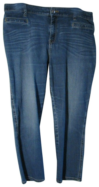 Item - Blue Medium Wash 1.5 Platinum Crop Denim Capri Capris Stretch Straight Leg Jeans Size 30 (6, M)