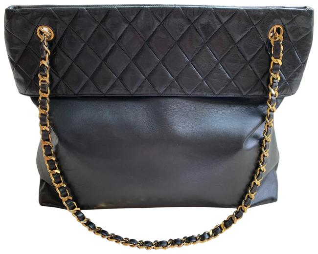 Item - Shopping Classic Flap Quilt Tote Black Lambskin Leather Shoulder Bag